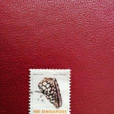 Sellos: SINGAPUR - VALOR FACIAL 10 - AÑO 1977 - SC 265 - CONCHA MARINA - CONO DE MÁRMOL. Lote 221238821