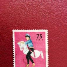 Sellos: SINGAPUR - VALOR FACIAL 75 CENTS -AÑO 1968 -YV 90 - CABALLITO - FOLCLORE, TRAJES Y BAILES REGIONALES. Lote 221239348