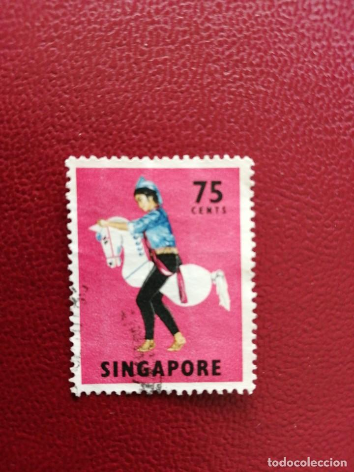 SINGAPUR - VALOR FACIAL 75 CENTS -AÑO 1968 -YV 90 - CABALLITO - FOLCLORE, TRAJES Y BAILES REGIONALES (Sellos - Extranjero - Asia - Singapur)