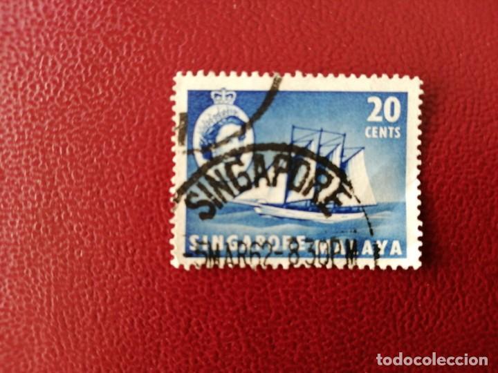 SINGAPUR - MALAYA - VALOR FACIAL 20 CENTS. BARCO A VELA - REINA ISABEL II (Sellos - Extranjero - Asia - Singapur)