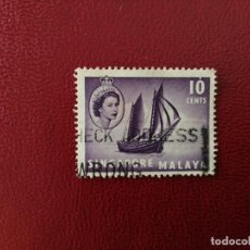 Selos: SINGAPUR, COLONIA BRITÁNICA - VALOR FACIAL 10 CENTS - AÑO 1955 - REINA ISABEL II - YV 34. Lote 222739056