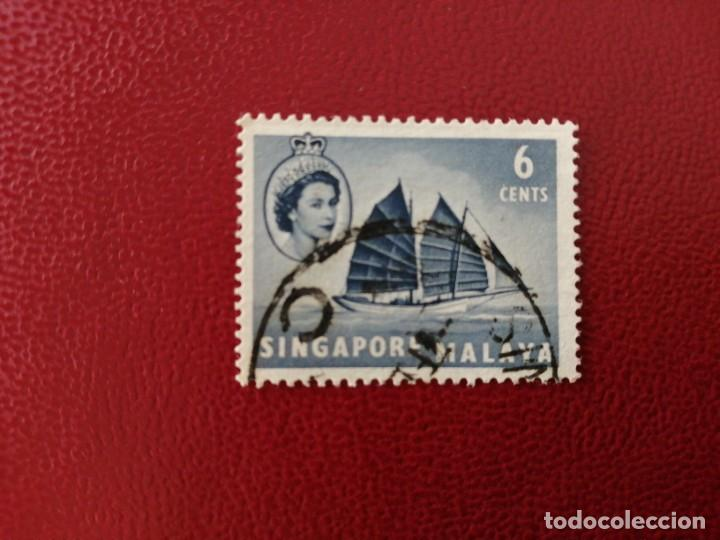 SINGAPUR, COLONIA BRITÁNICA - VALOR FACIAL 6 CENTS - AÑO 1955 - REINA ISABEL II (Sellos - Extranjero - Asia - Singapur)