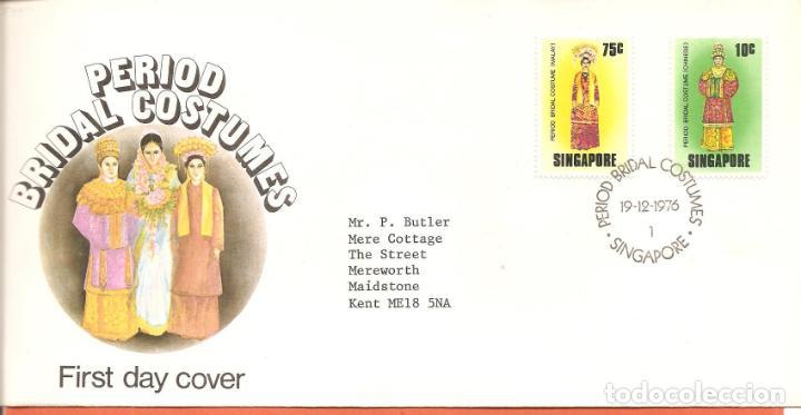 SPD -FDC SINGAPUR, TRAJES TÍPICOS, 1976 (Sellos - Extranjero - Asia - Singapur)