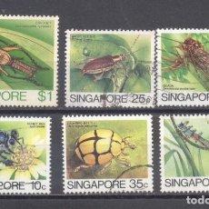 Sellos: SINGAPUR, 1985, LOTE DE 6, INXECTOS, USADOS. Lote 239363060