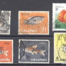 Sellos: SINGAPUR, 1962, LOTE DE 6,PECES, USADOS. Lote 239363415
