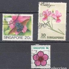 Sellos: SINGAPUR, LOTE DE 3,FAUNA&FLORA, USADOS. Lote 239363725