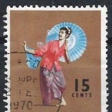 Selos: SINGAPUR 1968 - FOLKLORE, DANZA TARI PAYONG - USADO. Lote 270226078