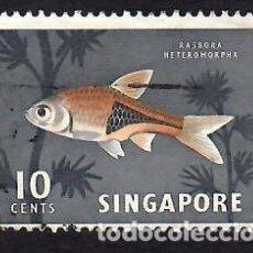 Sellos: SINGAPUR (1962). FAUNA Y FLORA: PEZ ARLEQUÍN. YVERT Nº 57. USADO.. Lote 285486283