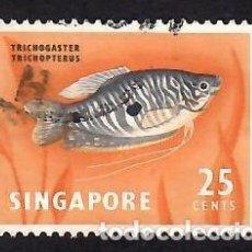 Sellos: SINGAPUR (1962). FAUNA Y FLORA: GOURAMI AZUL. YVERT Nº 59. USADO.. Lote 285487163