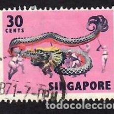 Selos: SINGAPUR (1968). FOLKLORE: DANZA DEL DRAGÓN. YVERT Nº 88. USADO.. Lote 285490753