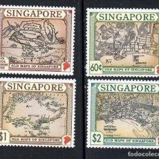 Selos: SINGAPUR (1996). MAPAS ANTIGUOS. SERIE COMPLETA NUEVA*** SIN FIJASELLOS.. Lote 292161453