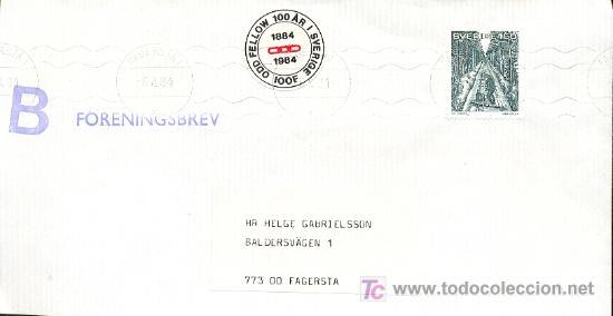 SUECIA. SOBRE CIRCULADO CON EL SELLO DE PAR LAGERKVIST SOBRE UNA VAGONETA EL 6-8-1984 (VER DETALLE) (Sellos - Extranjero - Europa - Suecia)