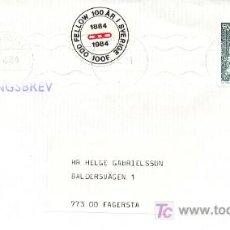 Sellos: SUECIA. SOBRE CIRCULADO CON EL SELLO DE PAR LAGERKVIST SOBRE UNA VAGONETA EL 6-8-1984 (VER DETALLE). Lote 5219775