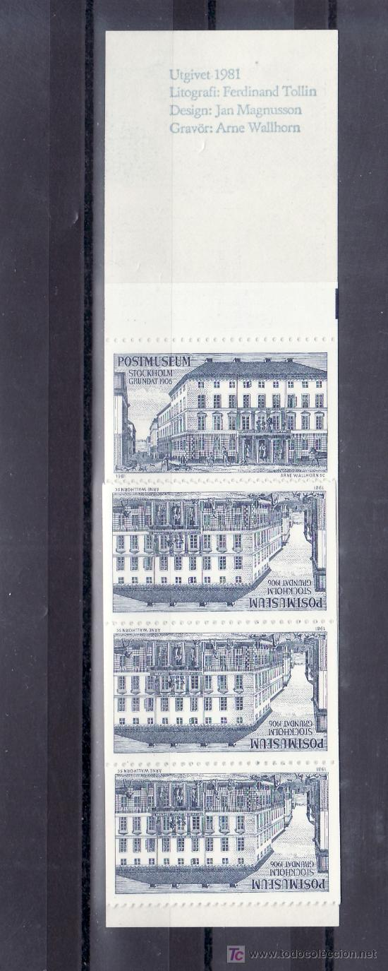 SUECIA CARNET DE MUESTRAS CON 10 VIÑETAS 1981, MUSEO POSTAL, GRABADOR ARNE WALLHORN, (Sellos - Extranjero - Europa - Suecia)