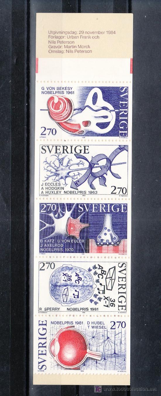SUECIA 1293C CARNET, GANADORES DEL PREMIO NOBEL DE FISIOLOGIA Y MEDICINA, (Sellos - Extranjero - Europa - Suecia)