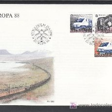 Sellos: SUECIA 1477, 1478A PRIMER DIA, TEMA EUROPA, FF.CC., TRANSPORTE Y COMUNICACION. Lote 25936250