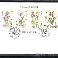 Sellos: SUECIA HB 10 PRIMER DIA, FLORES, ORQUIDEAS SILVESTRES, . Lote 25915052