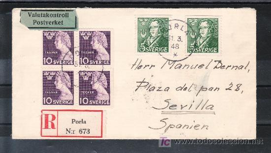 SUECIA 324(4), 328(2) SOBRE DE PORLA A SEVILLA CIRCULADA CERTIFICADO, LLEGADA CERTIFICADO SEVILLA (Sellos - Extranjero - Europa - Suecia)