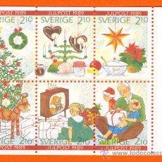 Sellos: BLOQUE 6 SELLOS.MARAVILLOSA SERIE DE SUECIA EMISION NAVIDAD 1989.. Lote 27062129