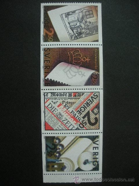 SUECIA 1990 IVERT 1607/10 *** INDUSTRIA SUECA DEL PAPEL (Sellos - Extranjero - Europa - Suecia)