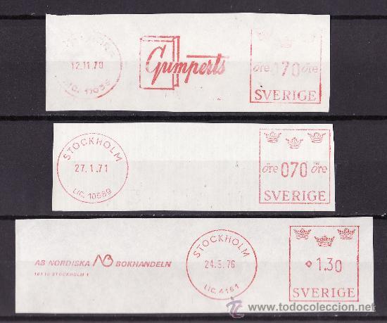 FRANQUEO MECANICO LOTE DE TRES FRAGMENTOS 1965-1975 PRENSA EDITORIALES (Sellos - Extranjero - Europa - Suecia)