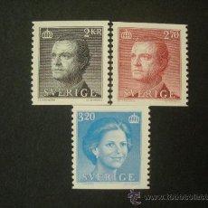 Sellos: SUECIA 1985 IVERT 1301/3 *** SERIE BÁSICA - REYES DE SUECIA - CARLOS XVI GUSTAVO Y SILVIA. Lote 27626738
