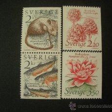 Sellos: SUECIA 1985 IVERT 1304/7 *** NATURALEZA VIVIENTE - FAUNA Y FLORA. Lote 27626796