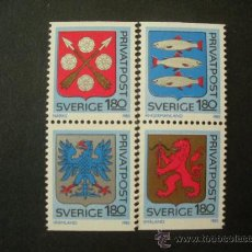 Sellos: SUECIA 1985 IVERT 1312/5 *** ESCUDOS DE PROVINCIAS . Lote 27627013