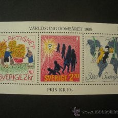 Sellos: SUECIA 1985 HB IVERT 13 *** AÑO INTERNACIONAL DE LA JUVENTUD - DIBUJOS. Lote 27627583