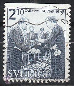 SUECIA IVERT 1375, 40 ANIVERSARIO DEL REY CARLOS GUSTAVO XVI, USADO (Sellos - Extranjero - Europa - Suecia)