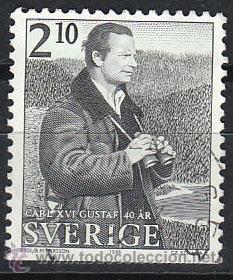 SUECIA IVERT 1374, 40 ANIVERSARIO DEL REY CARLOS GUSTAVO XVI, USADO (Sellos - Extranjero - Europa - Suecia)