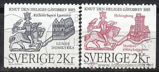 SUECIA IVERT 1322/3, 9º CENTENARO DEL ACTA DE DONACIÓN A LA CATEDRAL DE LUND, USADO (SERIE CPMPLETA) (Sellos - Extranjero - Europa - Suecia)