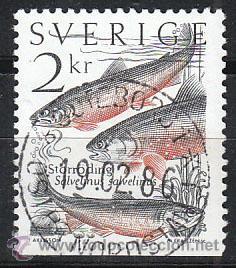 SUECIA IVERT 1305, PEZ CARBON, USADO (Sellos - Extranjero - Europa - Suecia)