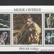 Sellos: SUECIA AÑO 1983 YV HB 11*** ESTILOS DE MÚSICA EN SUECIA - INSTRUMENTOS MUSICALES - ARTE - CZ SLANIA. Lote 30532620