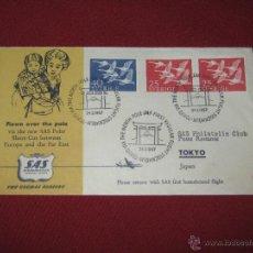 Sellos: CARTA CIRCULADA DE SUECIA A JAPON - 1957 - MATASELLOS LLEGADA A TOKIO - TEMA AVES - FAUNA. Lote 42251082