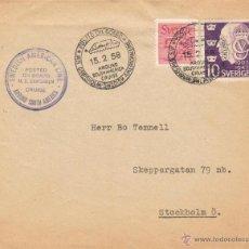 Sellos: SUECIA LOTE 2 SOBRES MATASELLOS BARCOS 1956 1958 VER DETALLE. Lote 43813254