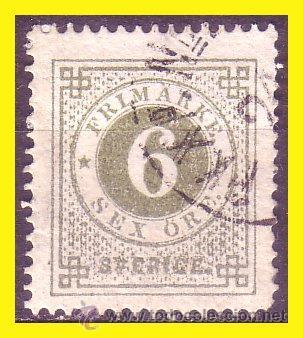 SUECIA 1872 IVERT Nº 19A TIPO B (O) (Sellos - Extranjero - Europa - Suecia)