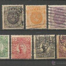 Sellos: SUECIA 1910-19 YVERT NUM. 55/61 SERIE COMPLETA USADA FILIGRANA CORONA. Lote 54103370