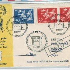 Sellos: SUECIA SOBRE PRIMER VUELO ESTOCOLMO-TOKIO VIA POLO NORTE AÑO 1957. Lote 61849256