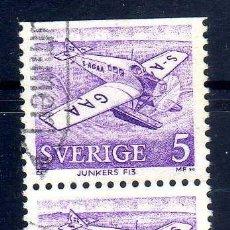 Sellos: SUECIA 1972 AVIONES POSTALES JUNKERS - YVERT 740 PAREJA USADO - DOS DENTADOS. Lote 72160371
