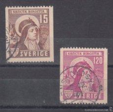 Sellos: SUECIA 290/1 USADA, RELIGION, 550 ANIVERSARIO DE LA CONONIZACION DE SANTA BRIGIDA,. Lote 78256305