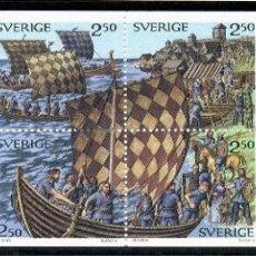 Sellos: SUECIA 1990 - MUNDO VIKINGO - YVERT 1575/82** CARNET. Lote 221712116