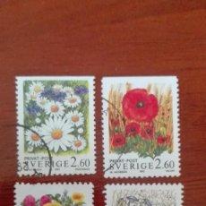 Briefmarken - Suecia Yvert 1763/66 usados flores 1993 - 88337476