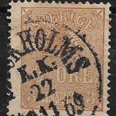 Sellos: SUECIA 1862-69 - 3 ORE USED - 18/18. Lote 146581382