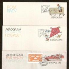 Sellos: SUECIA. 1980. 3 CARTAS AEROGRAM. Lote 147385002
