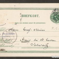 Sellos: SUECIA.1896.ENTERO POSTAL. STOCKHOLM-GAIS. Lote 147389210