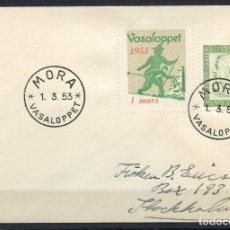 Sellos: SUECIA, SOBRE, VIÑETA, SVERIGE, MORA, VASALOPPET, 1953, VIGNETTE SUEDE. Lote 147696890