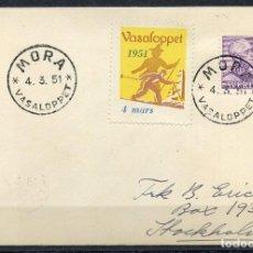 Sellos: SUECIA, SOBRE, VIÑETA, SVERIGE, MORA, VASALOPPET, 1951, VIGNETTE SUEDE. Lote 147706226