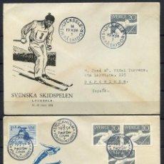 Sellos: SUECIA, SVERIGE, SOBRE, THE WORLD SKI CHAMPIONSHIPS, 1954, SUEDE, (2). Lote 147707898
