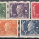 Sellos: SUECIA. 1928 YVERT Nº 206 / 210 /*/ . Lote 159888818